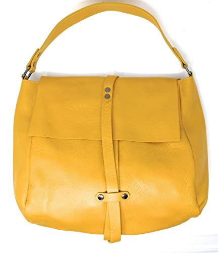 OH MY BAG Sac porté épaule Cuir porté épaule femmes en véritable cuir fabriqué en Italie - modèle IN Jaune foncé