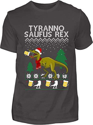 Ugly Christmas T-Shirt Herren Lustig Tyrannosaufus Rex Ugly Christmas - Kurzarm Shirt Baumwolle mit Motiv Aufdruck - Weihnachten Party Ugly Christmas Fun Saufen Bier (Anthrazit, XXL)