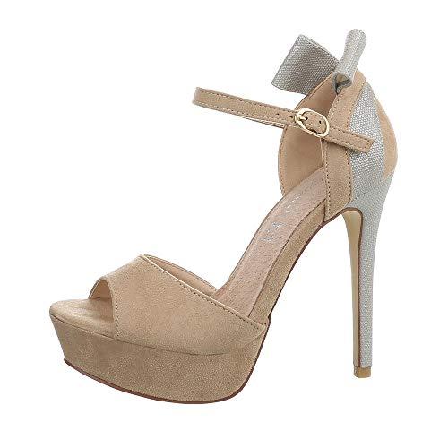 Ital-Design Damenschuhe Pumps High Heel Pumps Synthetik Beige Gr. 41