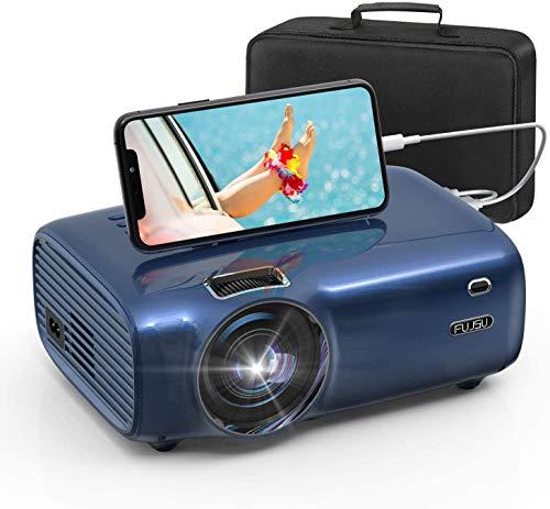 FUJSU Beamer, 5500 Lumen Mini Beamer Full HD,tragbare Heimkino Beamer 1080P mit 60000 Stunden LED Beamer unterstützt mit Laptop, iOS/Android Smartphone, USB, PS4, X-Box, Fire TV Stick