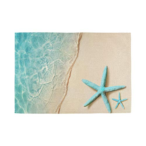 Beach Starfish Placemats Set of 6 Summer Ocean Coastal Table Mats Blue Sea 12x18 Inches for Dining Kitchen Outdoor Party Holiday Decor