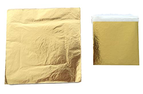 Blattgold 14x14cm oder 9x9cm – Profi-Qualität - Blattmetall Gold – Hochglänzend – einfache Verarbeitung zum Vergolden und Dekorieren und Basteln -100 o. 200 Stück- (100, 9)