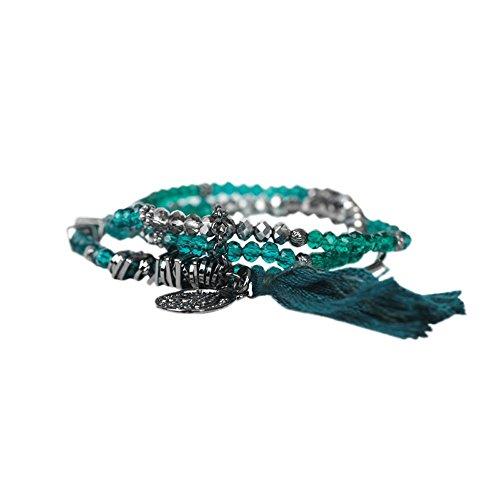 THE MOSHI Inez Armband Elastisch dreiteilig Blaugrün/Silber