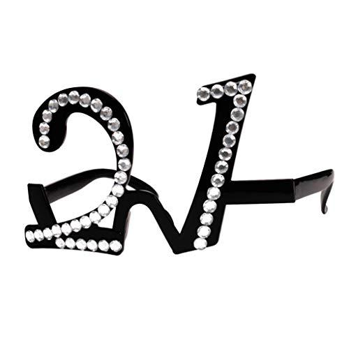 SM SunniMix Gafas de Cumpleaños, Marcos de Gafas de Fiesta, Suministros de Fiesta de Cumpleaños, Novedad - 21, 15 x 5,5 cm