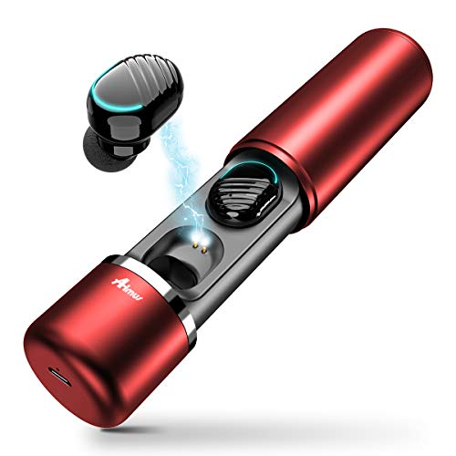 Auriculares Bluetooth 5.0, Aimus Mini Manos Libres Inalambricos Estéreo In-Ear con Caja de Carga Portátil Y Micrófono Integrado para iOS Samsung Sony con Caja de Carga(Rojo)