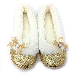 Maggie Gold Sequins Ballerina Slippers
