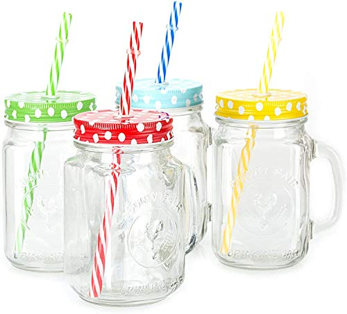 BESTAQUA Glass Frosty Jar with Handle/Mason Jar with Lid and Straw (450 ml Clear) (Pack of 1)