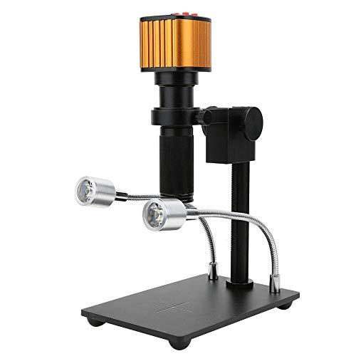 Microscopio HDMI HD 1080P, Set di telecamere per microscopi con attacco a C per industria digitale HDMI HD USB da 16 MP per Industry Lab PCB Uscita USB Scheda video TF Registratore(Unione Europea)