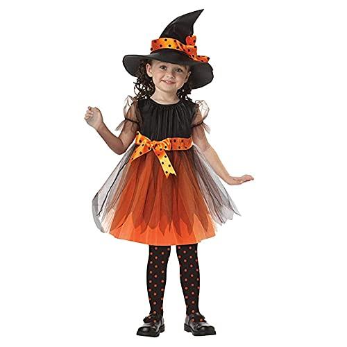 TMOYJPX Disfraz Halloween Niña Vampira 2-16 Años - Disfraces Vestido Niña Princesa y Sombrero de Bruja Ropa Costume Vestirse Fiesta (A, 2-3 años)