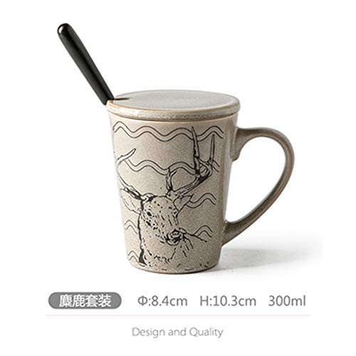 Tasse Becher Retro Keramik Becher mit Deckel Löffel Haushalt Tasse Set handbemalt Tiermuster Persönlichkeit Männer Wasser Tasse Elch Set
