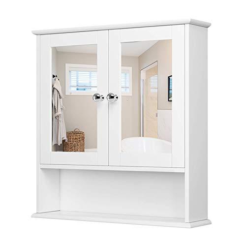 YIZHE Badezimmer-Hochschrank,Hängeschrank,Badschrank Spiegel mit Ablage,Badmöbel,Hängespiegel Wandschrank,Spiegelschrank für Badzimmer,Spiegelschränke,Schminkschrank aus Holz mit 2 Spiegeltür-Weiß