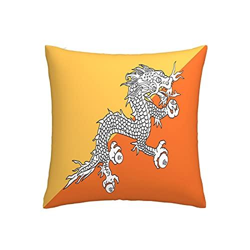 Kissenbezug mit Bhutan-Flagge, quadratisch, dekorativer Kissenbezug für Sofa, Couch, Zuhause, Schlafzimmer, drinnen & draußen, niedlicher Kissenbezug 45,7 x 45,7 cm