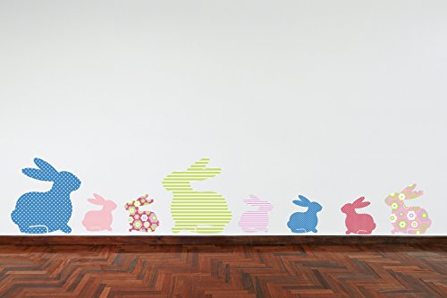60 Second Makeover Limited Lapins en Couleur Rose Vert Bleu Lilas pour Chambre d'enfant Jeux Sticker Mural Décoration en Style Shabby Chic