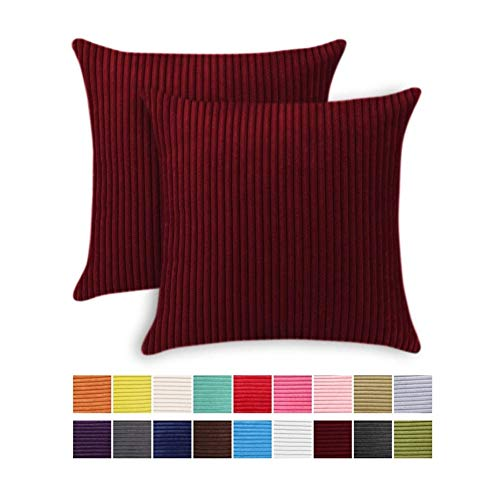JOTOM Striped Corduroy Cushion Cover Set of 2 Home Decor Soft Throw Pillow Cover Square Pillowcase for Sofa Chair Couch Bedroom Decorative 45x45cm (45x45cm,2 Pieces, Striped|Burgundy)