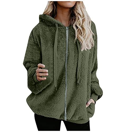 Chejarity Sudadera con capucha de forro polar para mujer, con bolsillos laterales, estilo informal, para primavera, invierno y otoño, Verde militar., XXL