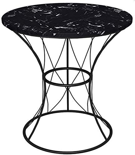Furniture Decoration Tables White Coffee Table Side Tables Laptop Table Round Side Living Room Sofa Coffee Marbletop Black Metal Frame Wrought Iron End Bedroom Bedside for Balcony Office (Color Whi