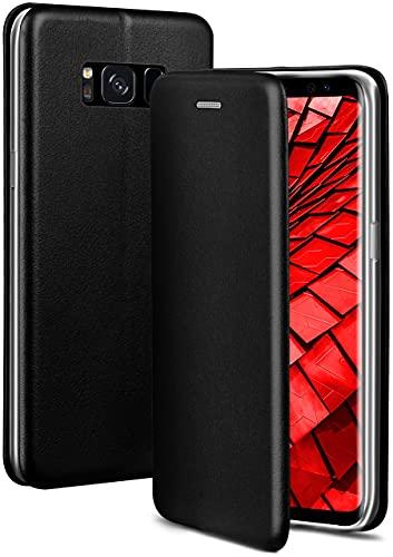 ONEFLOW Handyhülle kompatibel mit Samsung Galaxy S8 - Hülle klappbar, Handytasche mit Kartenfach, Flip Hülle Call Funktion, Leder Optik Klapphülle mit Silikon Bumper, Schwarz