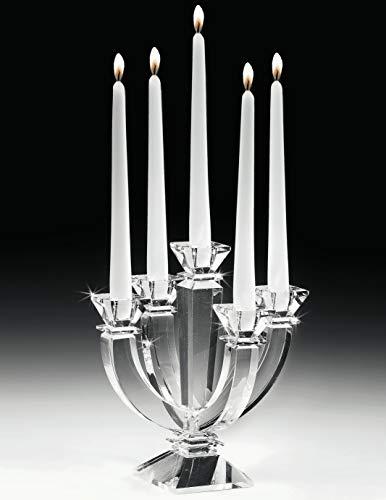 MAZZOLA LUCE candeliere in Vetro Cristallo Trasparente 5 Bracci candelabro portacandele Classico Contemporaneo da tavola
