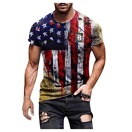 Burband Mens 4th of July Shirts Summer Muscle Tee Shirt Graphic Independence Day USA American Flag Tops Big and Tall