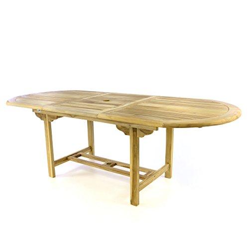 Divero Gartentisch Esstisch Balkontisch Tisch für Terrasse Balkon Wintergarten 170/230 cm Teak-Holz ovale ausziehbar witterungsbeständig massiv Natur unbehandelt