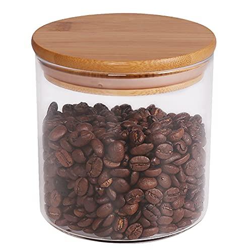 77L [Verdickte Version] Vorratsglas Glasbehälter Vorratsdosen Glas aus Borosilikatglas mit luftdichten Deckel aus Bambus 550 ML (18.6 FL OZ) - Vorratsdose für servieren Tee, Kaffee, Gewürz und Mehr