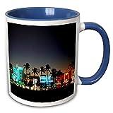 Lawenp Usa Florida Miami Beach Ocean Drive Art Deco Hotels At Dusk Taza de dos tonos, 11 oz, azul