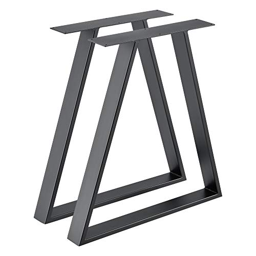 [en.casa] 2X Tischgestell 70x10x72 cm im 2er Set Stahl Metallgestell Stahlgrau