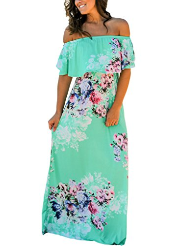 Happy Sailed Women Floral Print Off Shoulder Maxi Dresses, X-Large Green