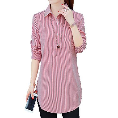 N\P Beliebtes vertikales Streifen-Hemd für Damen, mittellang, lockere Größe,...
