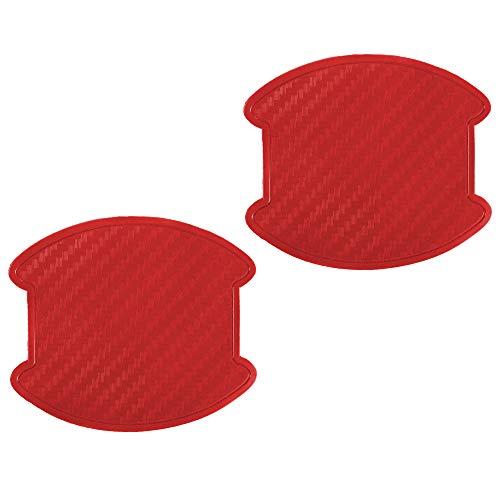 ワゴンR MC11 MC21 ドアハンドル プロテクター ドアノブ カバー PVC製 レッドカーボン 2枚セット 汎用