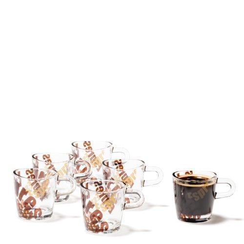 Leonardo Loop Espresso-Tasse, Espresso-Becher mit Aufdruck, spülmaschinengeeignete Espresso-Gläser, 6er Set, 75 ml, 089345