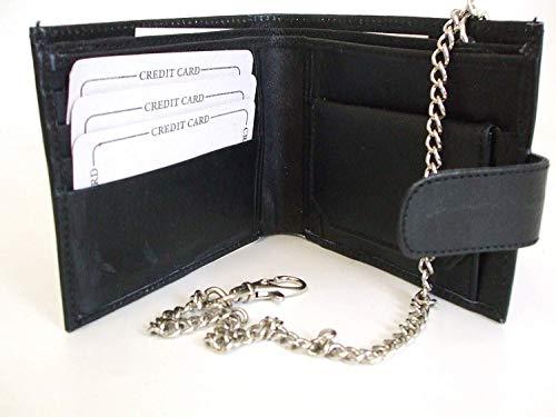 Portefeuille Portemonnaie Pour Hommes En Cuir Noir Véritable Avec Support Carte De Crédit Avec Chaine De Sécurité