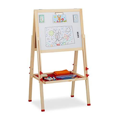 Relaxdays Pizarra Infantil Doble para Rotuladores y Tizas, Altura Ajustable, Madera, 102-135 x 55 x 52 cm, Marrón