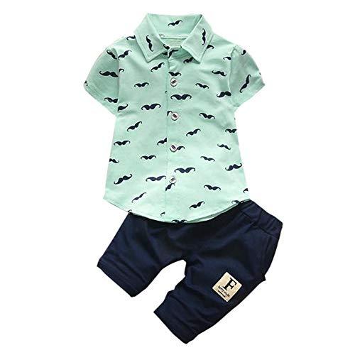 OSYARD Baby Jungen Sommer Jogginghose und Shirt Set, Kleinkind Kinder Baby Jungen Bart Drucken T-Shirt Tops + Shorts Hosen Outfit,Neugeborene Kurzarm Hemd Pants Sweathosen Haremshose Kleidung Set
