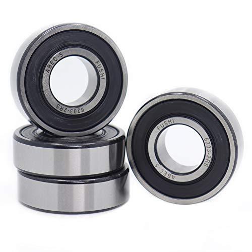 6203-2RS - Rodamientos de doble sello de goma (17 x 40 x 12 mm, rodamientos de bolas prelubricados con ranura profunda (4 unidades)