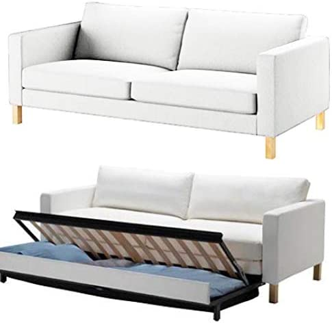 Best HomeTown Market The Durable Cotton IKEA Karlstad 3 Seater Sofa Bed Or Sleeper Cover Replacement is C