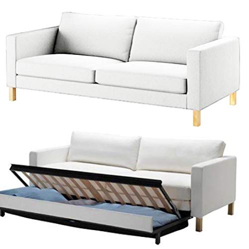 HomeTown Market The Durable Cotton IKEA Karlstad 3 Seater Sofa Bed Or Sleeper Cover Replacement is Custom Made for IKEA Karlstad Sofa Bed Slipcover. (White)