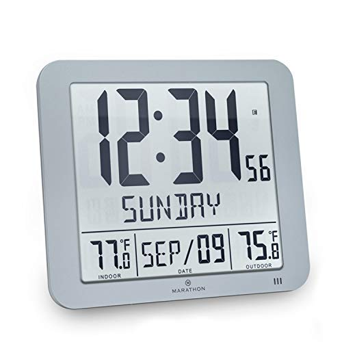 Marathon Slim Atomic Wall Clock with Indoor/Outdoor Temperature, Full Calendar and Large Display - Batteries Included - CL030027-FD-GG (Graphite Grey)