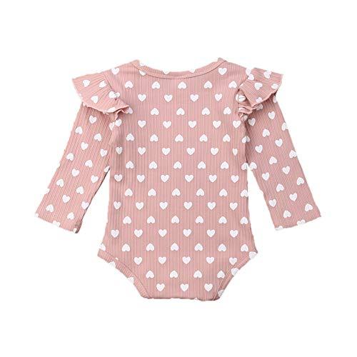 Carolilly Mono de una pieza para niña recién nacida, de 0 a 24 m, con estampado de Peach Heart Ruffle Rosa 6-12 Meses