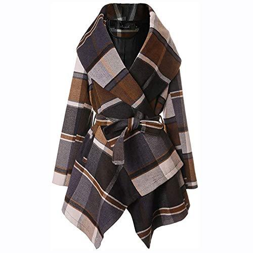 6865 Winter Coats for Women Turn Down Collar Grid Coat Belted Wool Blend Coat Asymmetric Hem Wrap Coat Khaki
