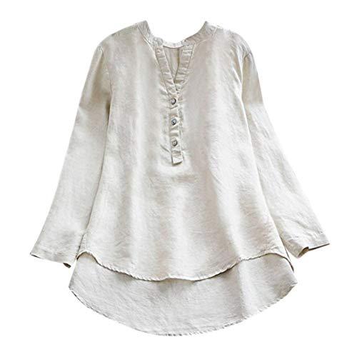 VEMOW Herbst Frühling Sommer Elegante Damen Frauen Stehkragen Langarm Casual Täglichen Party Strand Urlaub Lose Tunika Tops T-Shirt Bluse(X1-Weiß, 42 DE/L CN)