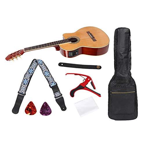 Juego de guitarra de corte ligero de 39 pulgadas, caja fuerte con bolsa de transporte para uso profesional con cejilla de recogida