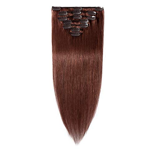 100% Remy Human Hair Clip in Extensions Grade AAAAA Natural Hair Full Head 7pcs 16clips Standard Weft Long Silky Straight for Women Fashion and Beauty (20' /20 inch 70g,#33 Dark Auburn)
