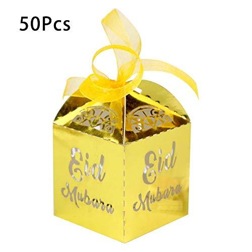 50 snoepdoosjes voor snoep, bruiloft, geschenken, moslim, ramadelaar, festival, doosje voor snoep, broken, zilverkleurig, zwart, chocolade, isslam Goud