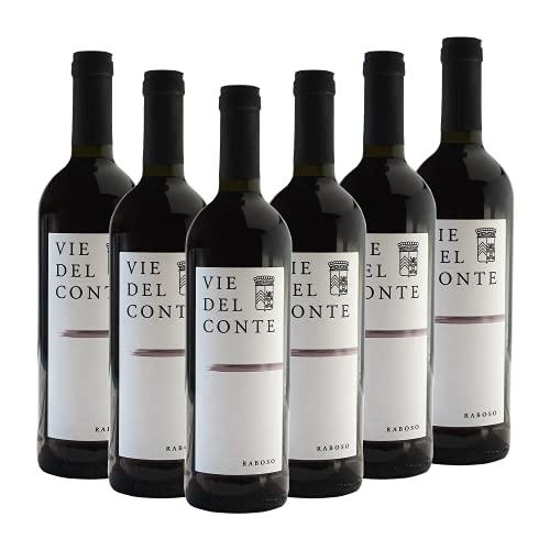 RABOSO FRIZZANTE IGT VIE DEL CONTE - Vino Rosso in Bottiglia di Vetro da 0,75 lt Tappo Sughero