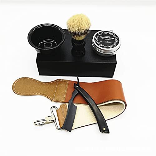 Juego de maquinilla de afeitar, colección clásica Caja de madera vintage Maquinilla de afeitar de madera con cuello de corte recto con brocha de afeitar para el cabello Cuero
