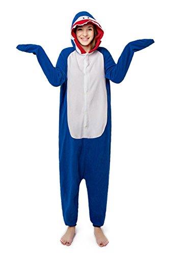 FunnyCos - Pijama unisex con capucha para adultos, disfraz de Halloween Azul Tiburón azul M