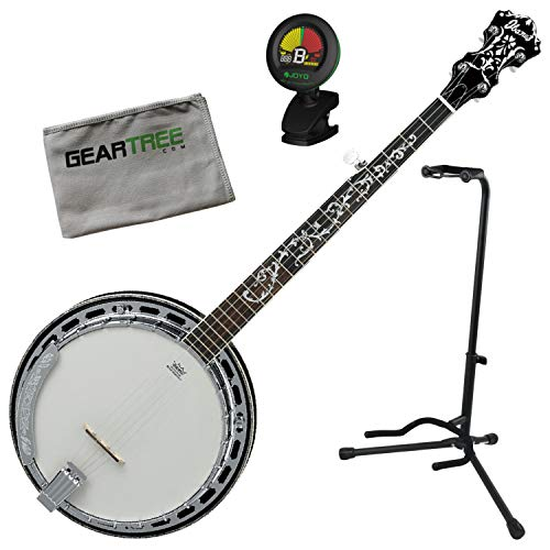 Ibanez B300 5-String Closed-Back Acoustic Banjo Bundle w/Stand, Tuner, and Cloth