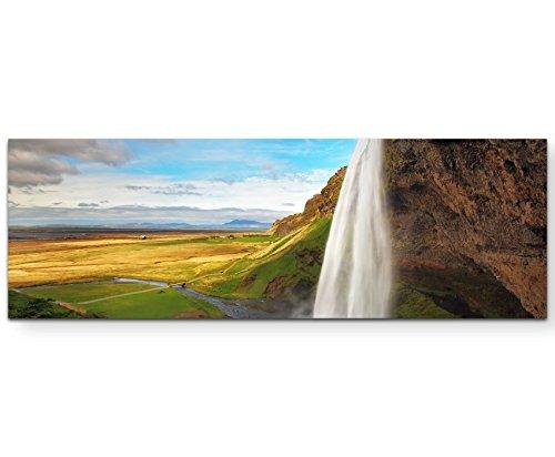 Paul Sinus Art Leinwandbilder   Bilder Leinwand 120x40cm Wasserfall Seljalandsfoss auf Island
