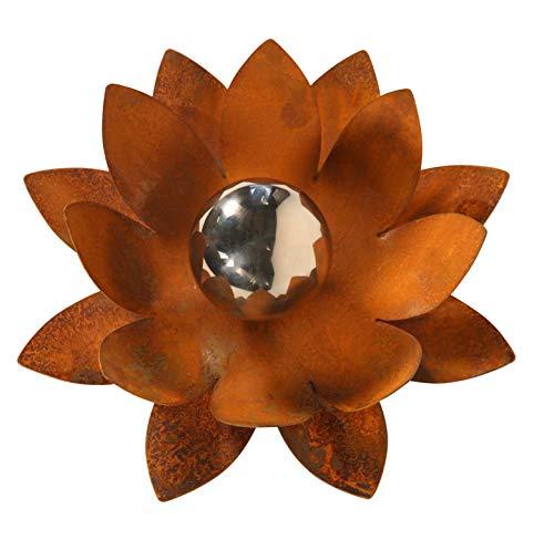 Bornhöft Gartendeko Blüte Lotus, Naturrost mit Edelstahlkugel Dekoblume Metallblüte Windlicht Edelrost rostige Gartendekoration (30cm)